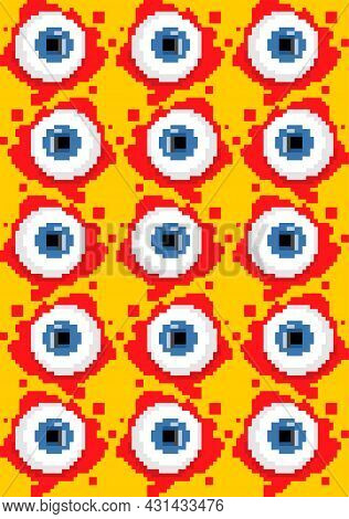 Eyeball Pixel Art Pattern Seamless. 8 Bit Eye And Blood Background. Pixelated Halloween Vector Textu