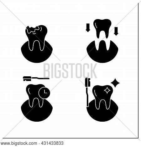 Dentist Glyph Icons Set. Tooth Transplants And Decay, Oral Hygiene. Healthcare Concept. Filled Flat