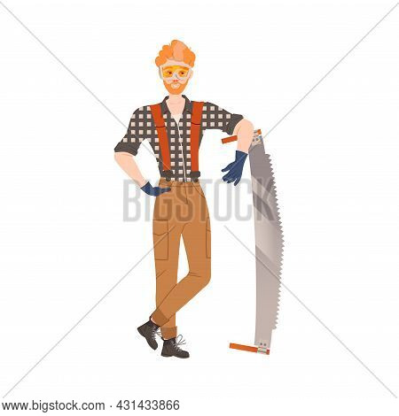 Redhead Bearded Woodman Or Lumberman In Checkered Shirt And Sling Pants Standing With Saw Vector Ill