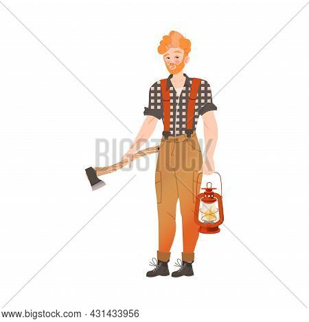 Redhead Bearded Woodman Or Lumberman In Checkered Shirt And Sling Pants Standing With Ax And Lantern