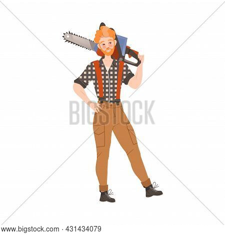 Redhead Bearded Woodman Or Lumberman In Checkered Shirt And Sling Pants Standing With Chain Saw Vect