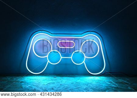 Neon Sign Joystick Pink, Blue And White Color. Trendy Style. Neon Sign. Custom Neon. Summer Vibe. Pl
