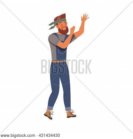 Bearded Woodman Or Lumberman In Blue Overall Waving Hand Vector Illustration