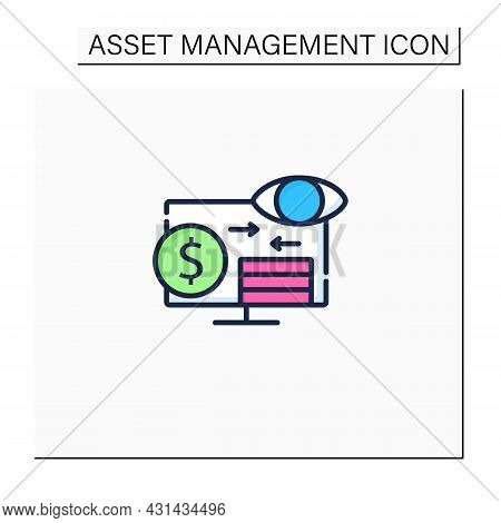 Assets Monitoring Color Icon.monitoring Accounts. Logs Information About Tangible Assets On Laptop.b