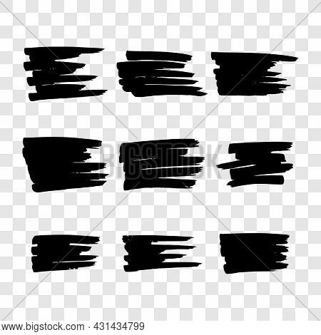 Scribble With A Black Marker. Set Of Nine Doodle Style Various Scribbles. Black Hand Drawn Design El
