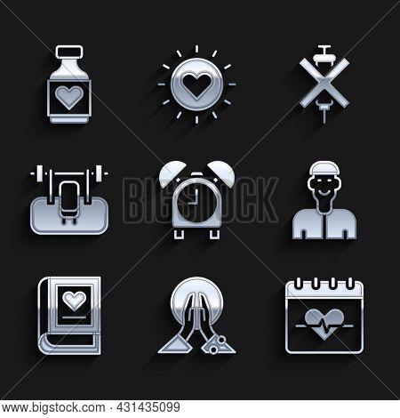 Set Alarm Clock, Meditation, Heart Rate, Positive Thinking, Medical Book, Bench With Barbel, No Dopi