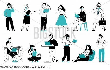 People With Gadgets. Human Use Phone, Digital Addiction. Teen Girl In Internet, Young Person Talk Mo