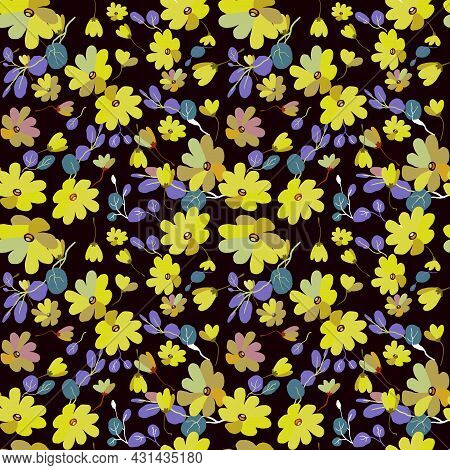Cute Pattern In Small Flowers With Eucalyptus. Small Pink, Yellow Flowers. Exotic Dark Background. D