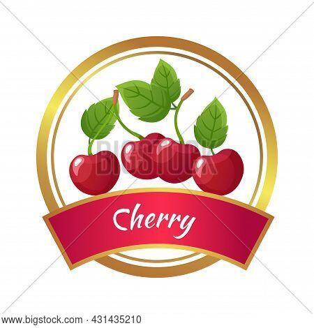 Cherry Marmalade Sticker. Cherries Jam Jar Label. Berries Harvest, Green Leaves Isolated Vector Temp