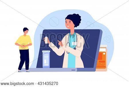 Medical Online Consultation. Doctor Or Pharmacist, Man With Abdominal Pain Need Drugs. Web Pharmacy