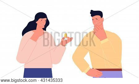 Couple Thought About Money. Woman Holding Coin, Financial Crisis Or Investments Metaphor. Family Ban