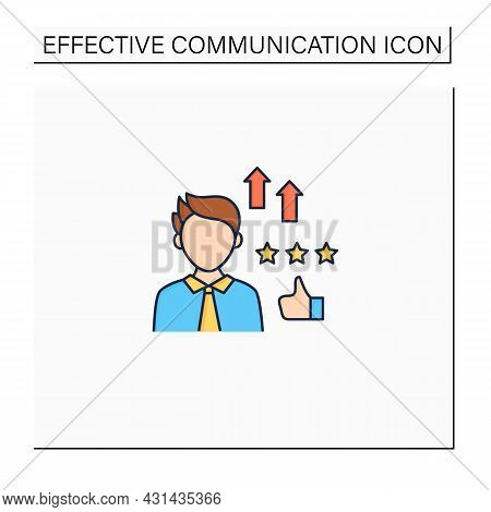 Self Efficacy Color Icon. Faith In Capabilities. Productivity, Efficiency In Work. Strong Personalit