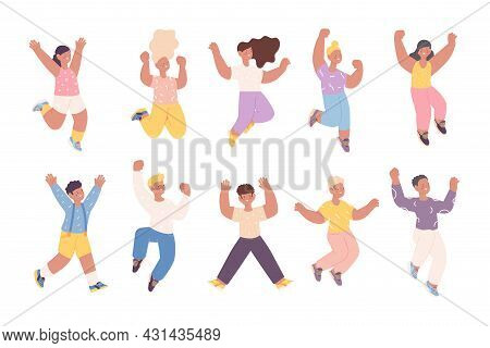 Happy Jumping Children. Smile Girls Jump, Cute Boy Characters. Hurray Emotions, Isolated Flat Presch