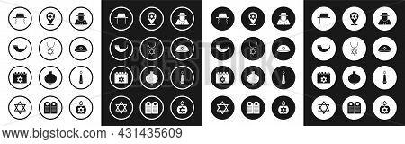 Set Orthodox Jewish Hat, Star Of David Necklace On Chain, Traditional Ram Horn, Shofar, Jewish Kippa