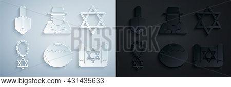 Set Jewish Sweet Bakery, Star Of David, Necklace On Chain, Torah Scroll, Orthodox Jewish Hat And Han