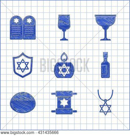 Set Burning Candle, Torah Scroll, Star Of David Necklace On Chain, Jewish Wine Bottle, Sweet Bakery,