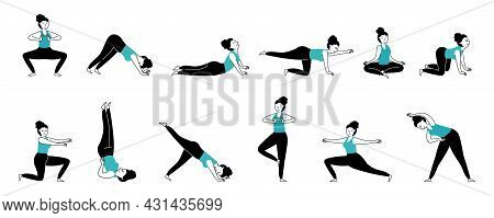 Yoga Female Characters. Muscle Stretching, Girl Athlete Workout. Energy Activation, Different Pilate