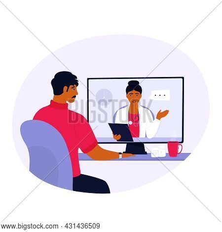 Doctor Consultation Online. Chat With On-call Nurse. Indian Woman Medical Worker Consults By Video C