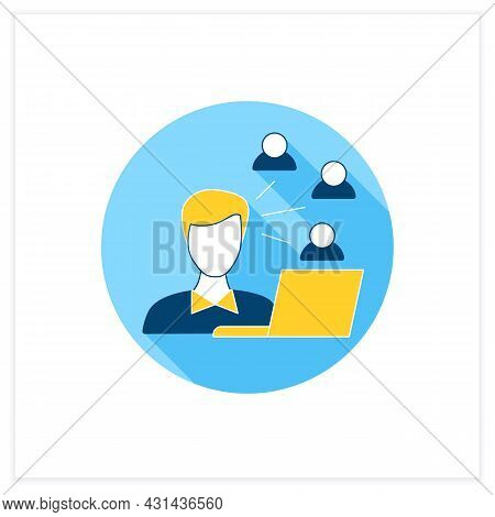Community Manager Flat Icon. Build, Grow And Manage Online Communities. Communication With People. M