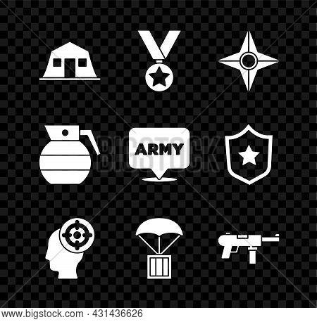 Set Military Barracks, Reward Medal, Japanese Ninja Shuriken, Target Sport, Airdrop Box, Submachine