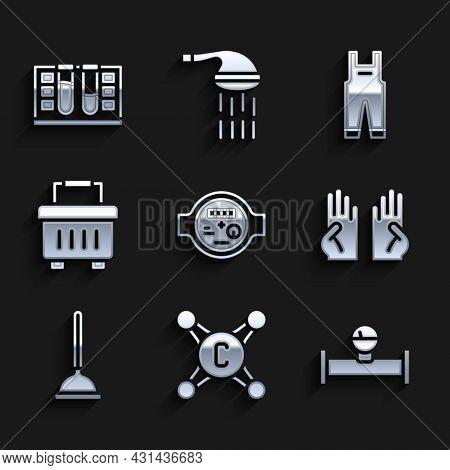 Set Water Meter, Tap, Industry Pipe And Manometer, Rubber Gloves, Plunger, Toolbox, Work Overalls An