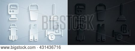 Set Work Overalls, Rubber Plunger, Water Filter, Industry Metallic Pipe, Bucket And Pressure Water M