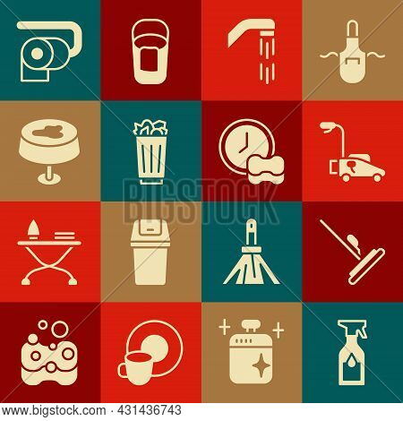 Set Cleaning Spray Bottle, Mop, Lawn Mower, Shower Head, Full Trash Can, Stain On The Tablecloth, To