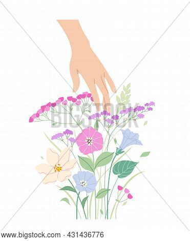 Female Hand Touches Pink And Blue Delicate Flowers. Simple Woman Hand With Bunch Of Tender Blooming