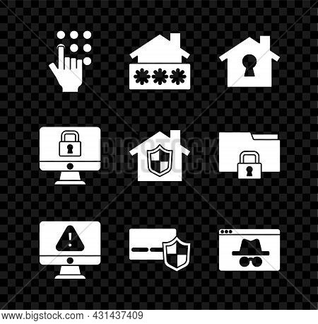 Set Password Protection, House With Password, Under, Monitor Exclamation Mark, Credit Card Shield, B