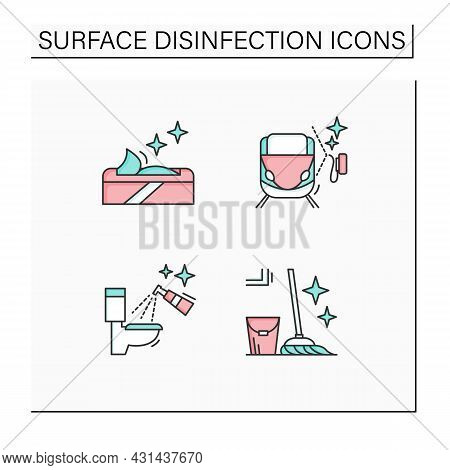 Surface Disinfection Color Icons Set.toilet, Train Disinfection. Wet Wipes, Mopping. Home, Public Ar