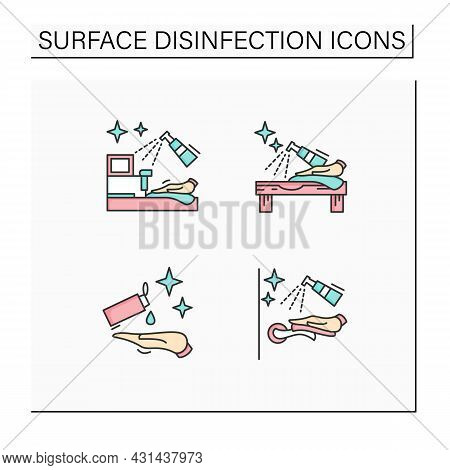 Surface Disinfection Color Icons Set.door Handle And Hands, Shop, Tabletop Disinfection. Home, Publi