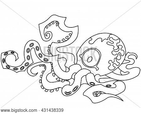 Vector Outline Colorless Black And White Illustration Of Cartoon Funny Octopus With Tentacles