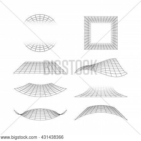 Perspective Grid. 3d Line Surface Of Floor Tiles Horizon Geometrical Shapes Garish Vector Stylized G