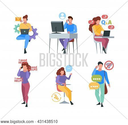 Call Center. Helping Consultant Stuff Mobile Provider Online Help Consultation Garish Vector Concept