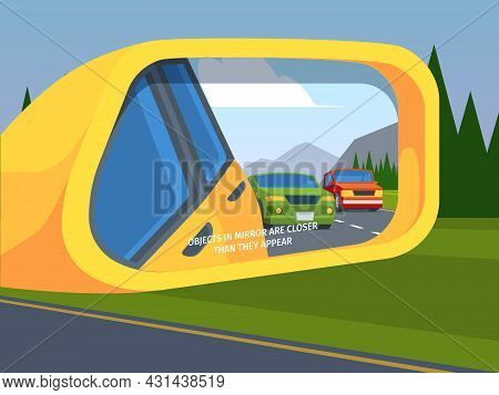 Rear View Mirror. Car Reflection Side Driving Symbols Outdoor Vehicle Safety Mirror Garish Vector Il