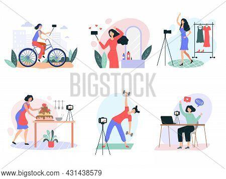 Female Blogger. Beauty Vlogger Recording Video On Smartphones Self Production Studio Recent Vector F