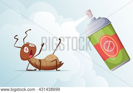 Cockroach Baiting. Bad Insects In Living Room Home Hygiene From Dirty Bugs Exact Vector Cartoon Back
