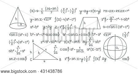 Formulas. Mathematics And Geometrical Infographic Symbols For Scientific Design Projects Pictures Of