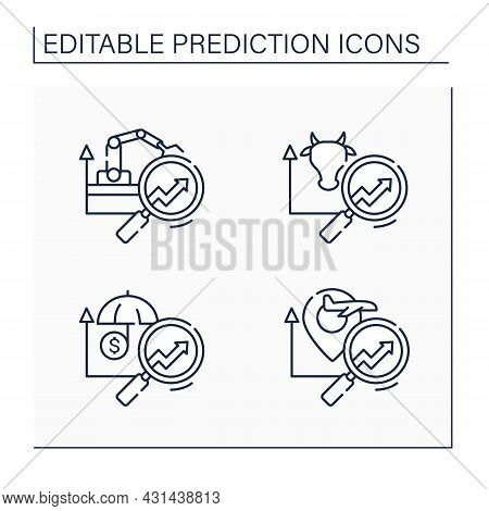 Predictive Analytics Line Icons Set. Travel, Insurance, Manufacturing, Agriculture Analytics Predict