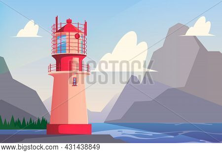 Lighthouse Background. Travel Outdoor Light For Marine Travellers Lighthouse For Ship Easy Navigatio