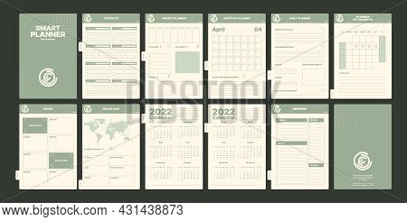 Notebook Pages. Daily Planner Book With Calendars Goal Reminder Date And Month Weekly Organizer For