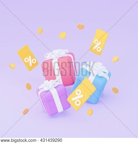 Gifts With Coupons And Coins. The Concept Of A Sale With Discounts And Promo Codes. 3d Rendering