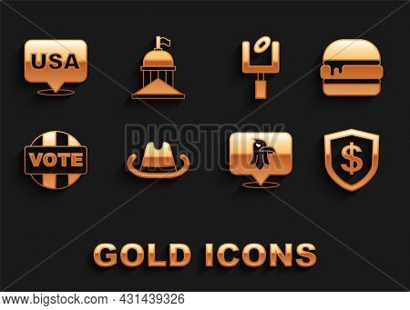 Set Western Cowboy Hat, Burger, Shield With Dollar, Eagle, Vote, American Football Goal Post, Usa In