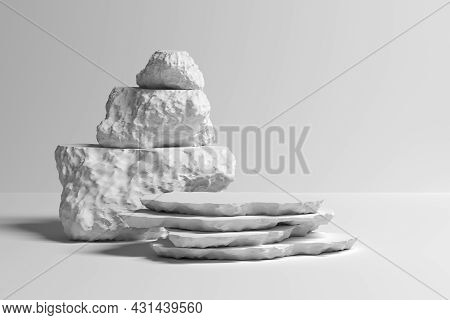 Abstract Illustration With Stack Of Decorative Stones On White Background. 3d Illustration.