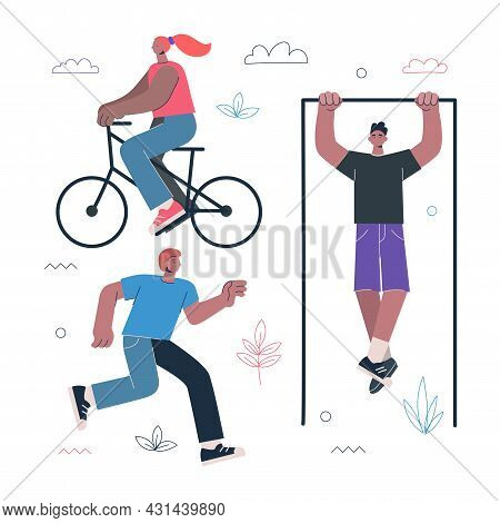 Healthy Lifestyle Fitness And Street Workout Sports Exercises Concept. Persons Ride Bicycle, Running