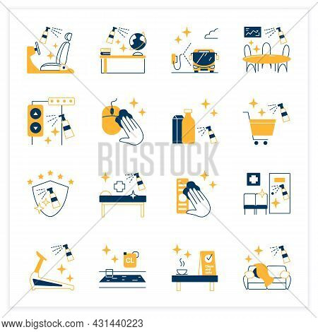 Surface Disinfection Flat Icons Set. Disinfection At Home, Workplace, Public Spaces, Transport. Safe