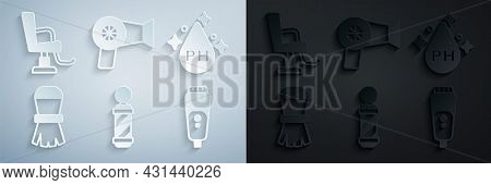 Set Classic Barber Shop Pole, Oil For Hair Care Treatment, Shaving Brush, Electric Razor Blade, Hair
