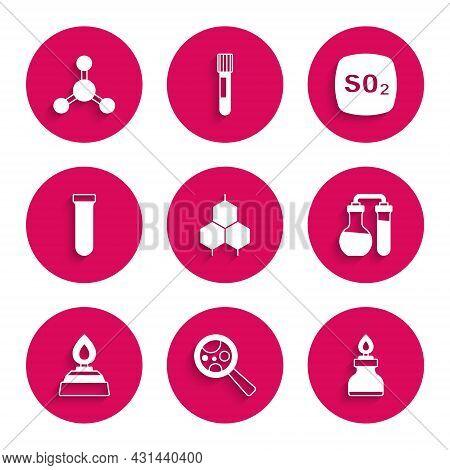 Set Chemical Formula, Microorganisms Under Magnifier, Alcohol Spirit Burner, Test Tube, Sulfur Dioxi