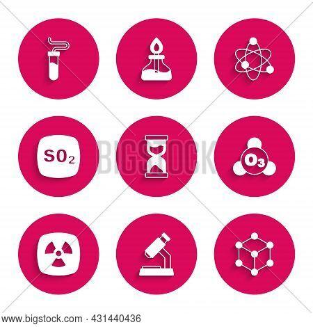 Set Old Hourglass, Microscope, Molecule, Ozone, Radioactive, Sulfur Dioxide So2, Atom And Test Tube