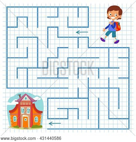 A Schoolboy With A Knapsack Goes Home Through The Maze. Square Maze With A Boy For Children. Childre